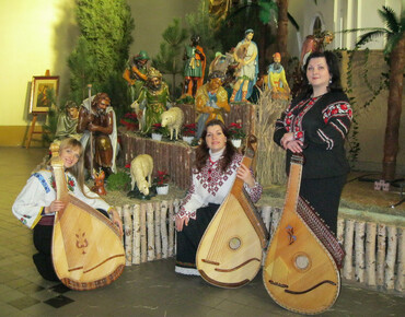 The concert of carols in the museum of folk instruments in of Szidlovec, Poland